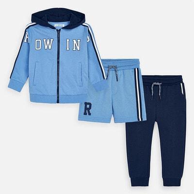 Комплект Спортивний, Кофта + сині штани + шорти, Блакитний, Mayoral Іспанія, 20VL