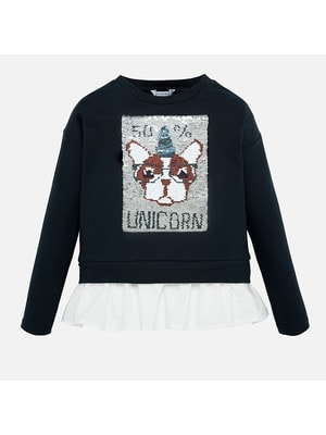 Пуловер, (двосторонні паєтки), Темно-синій, Mayoral Іспанія, 20OZ