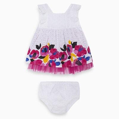 Сукня, верх вибитий, низ в квітах,  в 92р додаються трусики, в інших розмірах тільки сукня, Білий, TucTuc Іспанія, 20VL