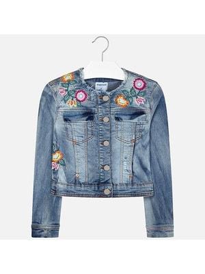 Піджак, джинсовий, вишиті квіти, Синій, Mayoral Іспанія, 19VL