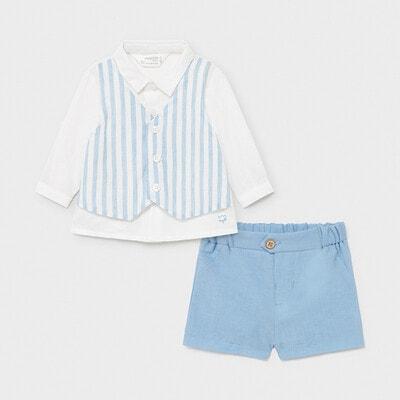 Комплект, Сорочка + блакитні шорти, Білий, Mayoral Іспанія, 21VL