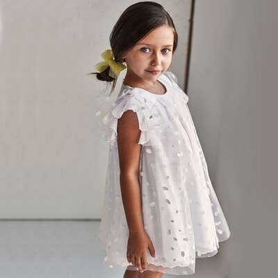 Платье, в блестках, Белый, Mayoral Испания, 21VL