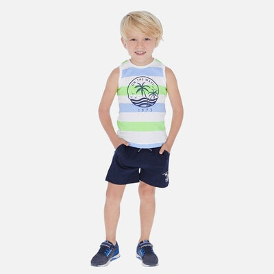 Комплект, Футболка в смугу + футболка біла + шорти, Темно-синій, Mayoral Іспанія, 20VL