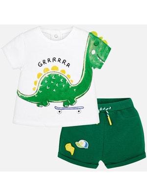 Комплект, Футболка біла + шорти, Зелений, Mayoral Іспанія, 19VL