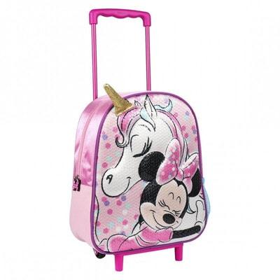 Сумка-рюкзак на колесах 3D MINNIE и Единорог (35х25х10) Cerda, Розовый, Disney Испания, 21OZ