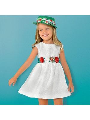 Сукня, + зелений пояс з квітами, Білий, Mayoral Іспанія, 19VL