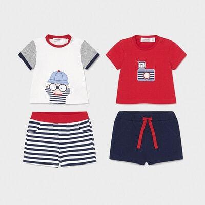 Комплект, 4 од. Футболка (біла, червона) + шорти, Синій, Mayoral Іспанія, 21VL