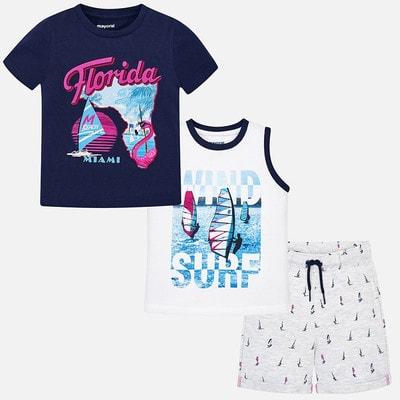Комплект, Футболка + майка + шорти (Florida), Темно-синій, Mayoral Іспанія, 19VL