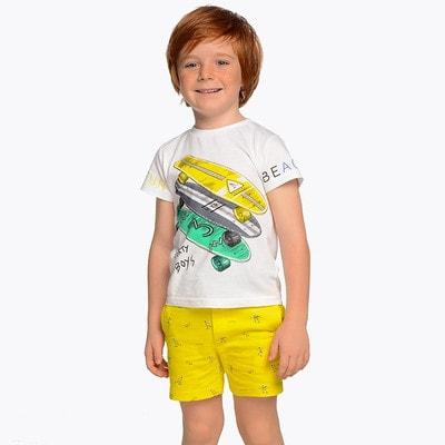 Комплект, Футболка + жовті шорти, Білий, Mayoral Іспанія, 19VL
