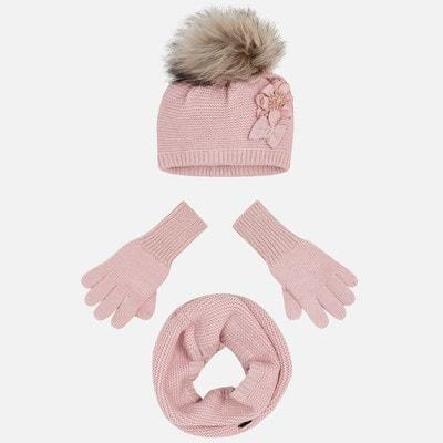 Головний убір Комплект, Шапка + шарф + перчатки, Рожевий, Mayoral Іспанія, 20OZ