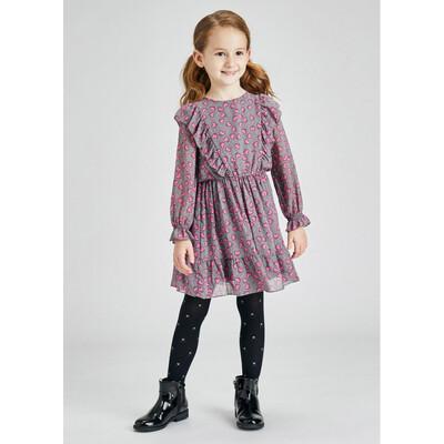 Сукня, довгий рукав, в рожевих серцях, Сірий, Mayoral Іспанія, 22OZ