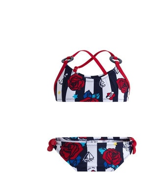 Купальник, в белую полосу (красные розы), Темно-синий, TucTuc Испания, 19VL