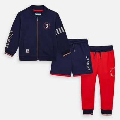 Комплект Спортивний, Кофта + червоні штани + шорти, Темно-синій, Mayoral Іспанія, 20VL