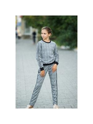 Комплект, Пуловер + штани  (в білу клітину, срібляста смуга), Чорний, ТМ Colabear, 20OZ