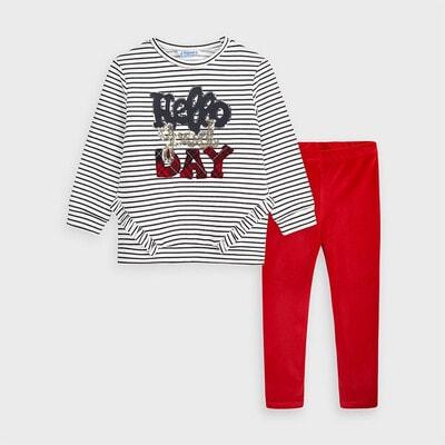 Комплект, Пуловер білий в смугу  + легінси, Червоний, Mayoral Іспанія, 21OZ