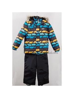 Комплект, Куртка  (помаранчеві, сині фігури) + напівкомбінезон ROBIS, Чорний, Lenne Естонія, 20OZ