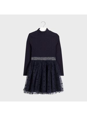 Сукня, довгий рукав, верх з блиском, низ в зірочках, Темно-синій, Mayoral Іспанія, 21OZ
