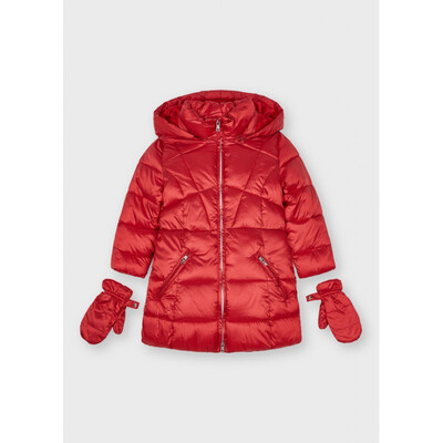 Куртка, з капюшоном, утеплена + рукавички, Червоний, Mayoral Іспанія, 22OZ
