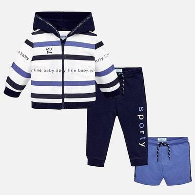 Комплект Спортивный, Кофта + штани + шорти бузкові, Темно-синій, Mayoral Іспанія, 19VL