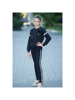 Комплект, Пуловер + штани (рожеві паєтки), Чорний, ТМ Colabear, 20OZ