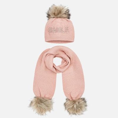 Головний убір Комплект, Шапка + шарф (SMILE), Рожевий, Mayoral Іспанія, 20OZ