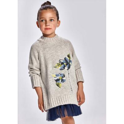 Комплект, Сукня синя + светр, Сірий, Mayoral Іспанія, 22OZ