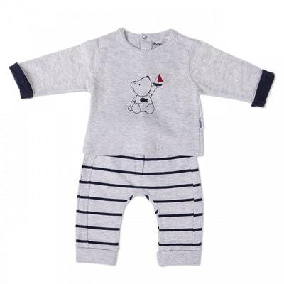 Комплект, Джемпер + штани в синю смугу, Сірий, Babybol Іспанія, 19VL