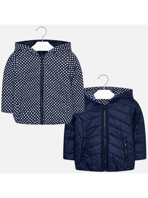 Куртка, двостороння, з капюшоном (білий горох), Темно-синій, Mayoral Іспанія, 20OZ