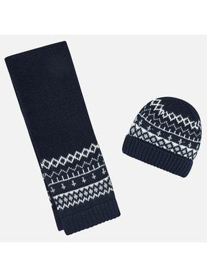 Головний убір Комплект, Шапка + шарф, Темно-синій, Mayoral Іспанія, 20OZ