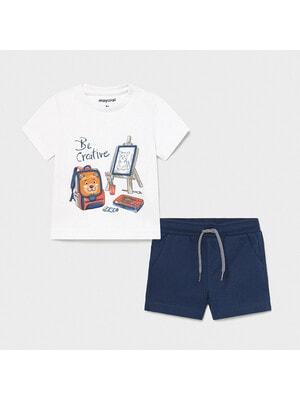 Комплект, Футболка + сині шорти, Білий, Mayoral Іспанія, 21VL
