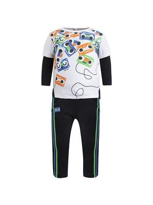 Комплект, Пуловер білий (радіо) + штани (зелена і синя смуги), Чорний, TucTuc Іспанія, 20OZ