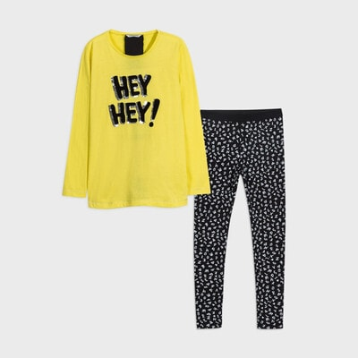 Комплект, Джемпер (HEY HEY!)  + чорні легінси, Жовтий, Mayoral Іспанія, 21OZ
