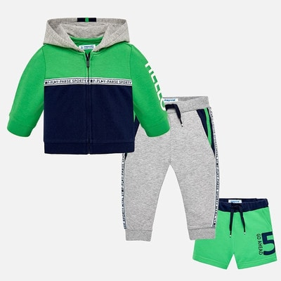 Комплект Спортивный, Кофта + штани  сірі + шорти зелені, Темно-синій, Mayoral Іспанія, 19VL