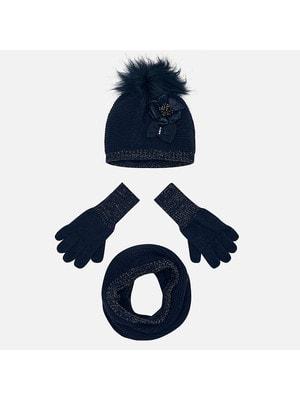 Головний убір Комплект, Шапка + шарф + перчатки, Темно-синій, Mayoral Іспанія, 20OZ