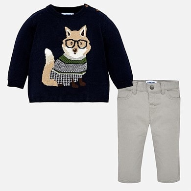 Комплект, Светр + сірі штани, Темно-синій, Mayoral Іспанія, 19OZ