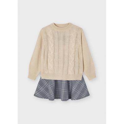 Сукня, низ в клітину +  светр, Бежевий, Mayoral Іспанія, 22OZ