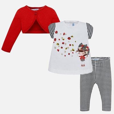 Комплект, Кофта червона + футболка + легінси в чорну клітинку, Білий, Mayoral Іспанія, 19VL