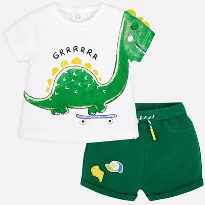 Комплект Футболка біла + шорти, Зелений, Mayoral Іспанія, 19VL