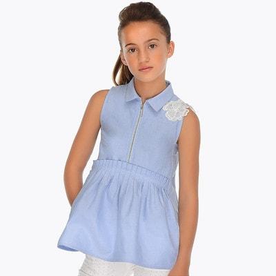 Блуза, зверху мереживна біла квітка, Блакитний, Mayoral Іспанія, 19VL