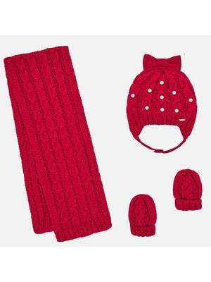 Головний убір Комплект, Шапка + шарф + рукавички (в'язаний), Червоний, Mayoral Іспанія, 20OZ