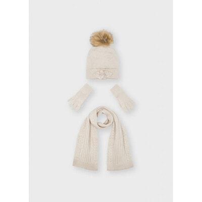 Головний убір Комплект, Шапка + шарф + перчатки, Бежевий, Mayoral Іспанія, 22OZ