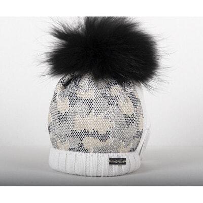 Головной убор шапка с черным бубном (золотистые, серебристые, черные камешки), Розовый, Trestelle Италия, 20OZ
