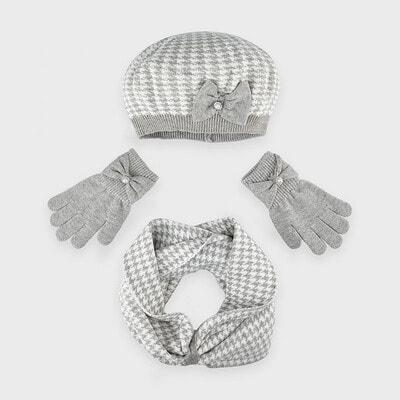 Головний убір Комплект, Шапка + шарф + рукавички (біла абстракція), Сірий, Mayoral Іспанія, 21OZ