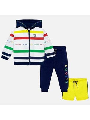 Комплект Спортивный, Кофта + штани + шорти жовті, Темно-синій, Mayoral Іспанія, 19VL