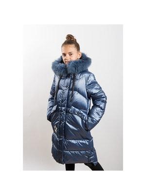 Пальто, з капюшоном (зірка з паєток), Синій, ТМ  K`ko, 20OZ