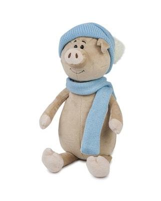 Іграшка М'яка, Свин Бен з шарфом і шапкою, 22 см, 3+, Maxi Toys КНР