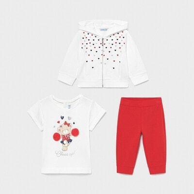 Комплект, Кофта + джемпер + червоні штани, Білий, Mayoral Іспанія, 21VL
