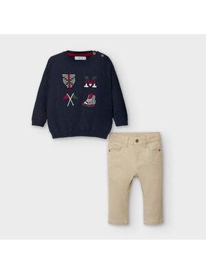 Комплект, Светр + бежеві штани, Темно-синій, Mayoral Іспанія, 21OZ
