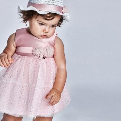 Платье, в золотистую крапинку, Розовый, Mayoral Испания, 21VL