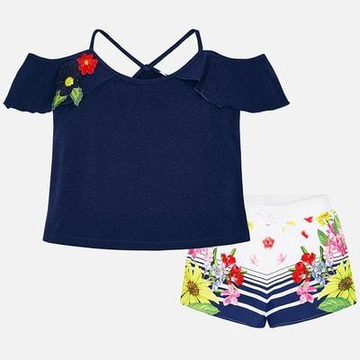 Комплект, Футболка +  шорти в квітвх, Темно-синій, Mayoral Іспанія, 19VL
